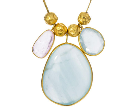 Pacific Blues Aquamarine Kunzinte Triple Colette Necklace - TWISTonline