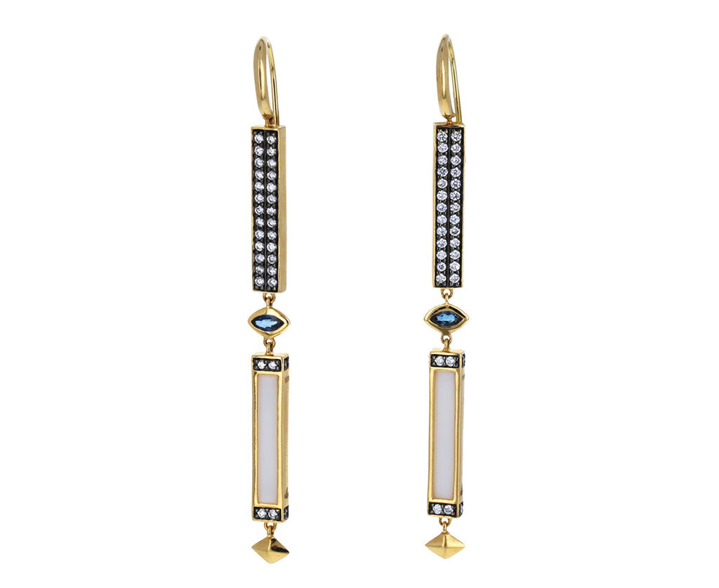 Sapphire, Diamond and White Onyx Stick Dangle Earrings