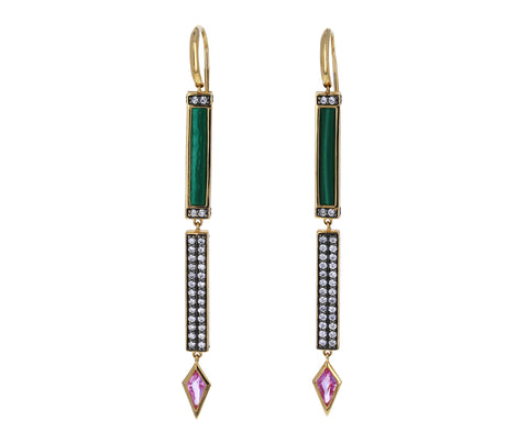 Malachite, Diamond and Pink Sapphire Stick Dangle Earrings