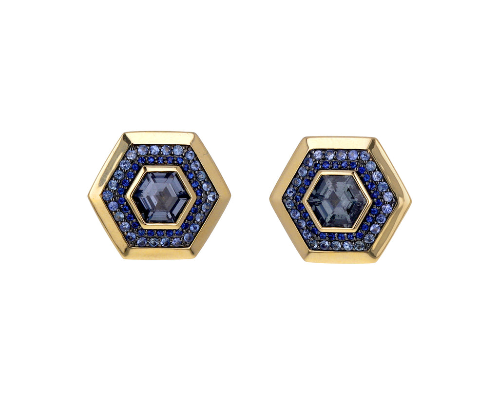 Blue Sapphire and Spinel Nomad Hex Stud Earrings
