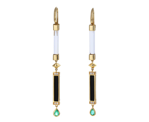 Crystal, Black Onyx, Diamond and Emerald Stick Earrings