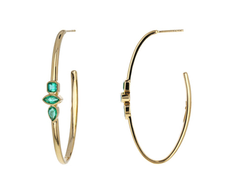 Emerald Oval Hoops