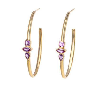 Pink Sapphire Polished Hoop Earrings