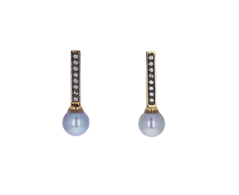 Diamond and Gray Pearl Stick Stud Earrings