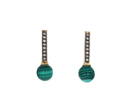 Malachite and Diamond Stick Stud Earrings