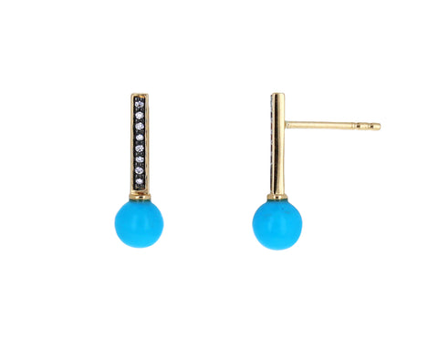 Turquoise and Diamond Stick Studs