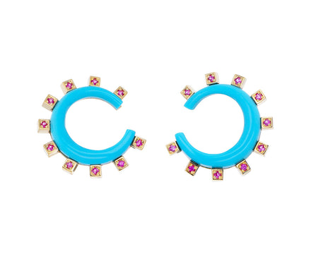 Turquoise and Pink Sapphire Monroe Mini Crescent Earrings