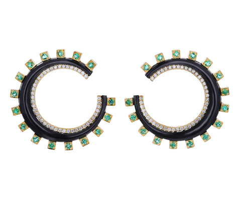 Emerald and Diamond Monroe Crescent Earrings