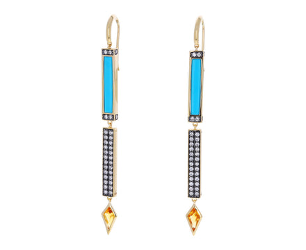 Turquoise, Diamond and Sunstone Stick Earrings