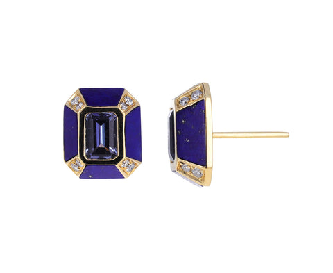 Sapphire, Lapis and Diamond Stud Earrings