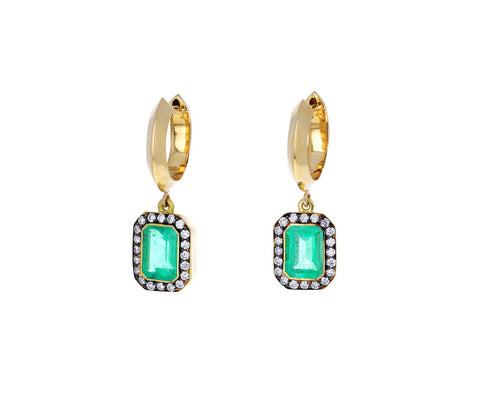 Emerald and Diamond Dangle Hoop Earrings
