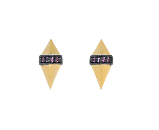 Gold and Pink Sapphire Pietra Stud Earrings
