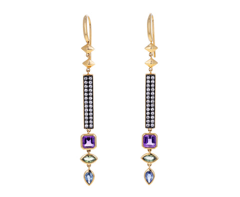 Spinel, Sapphire and Diamond Stick Dangle Earrings