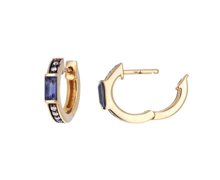 Otto Blue Sapphire and Diamond Huggie Hoops
