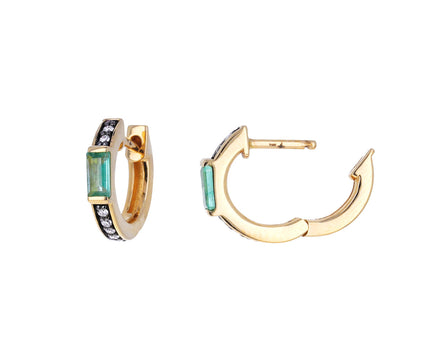 Otto Emerald and Diamond Huggie Hoops