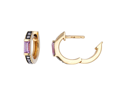 Otto Pink Sapphire and Diamond Huggie Hoops