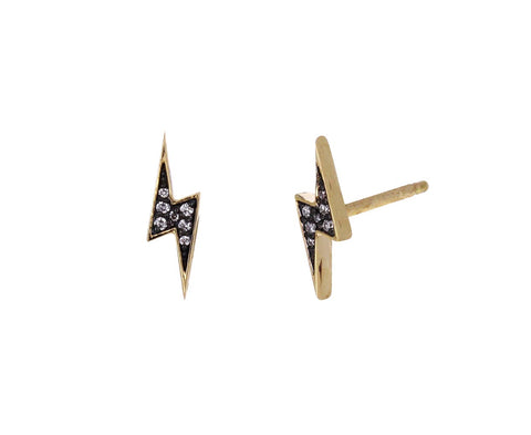 Diamond Lightning Bolt Studs