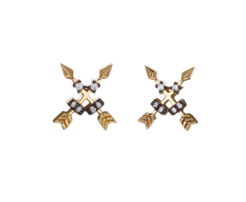 Diamond Crossed Arrows Stud Earrings