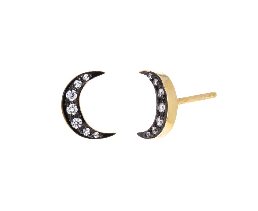 Diamond Crescent Moon Stud Earrings