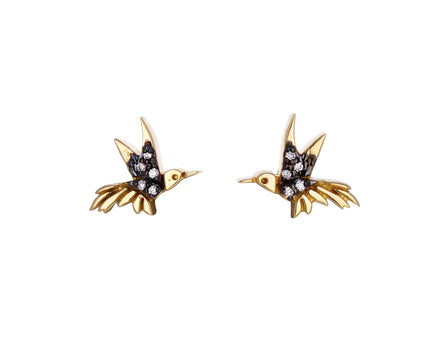 Diamond Hummingbird Stud Earrings