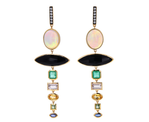 Multi Gem Drop Earrings