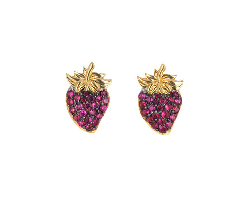 Pink Sapphire Fragola Stud Earrings