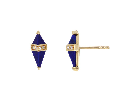 Lapis and Diamond Pietra Stud Earrings