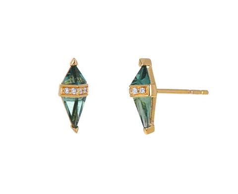 Green Quartz and Diamond Pietra Stud Earrings