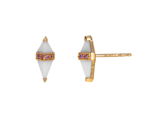 White Onyx and Pink Sapphire Pietra Studs