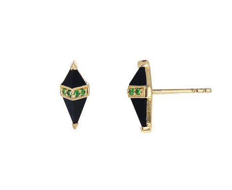 Black Onyx and Tsavorite Garnet Pietra Stud Earrings