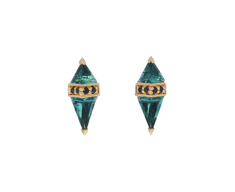 Green Quartz and Black Diamond Pietra Stud Earrings