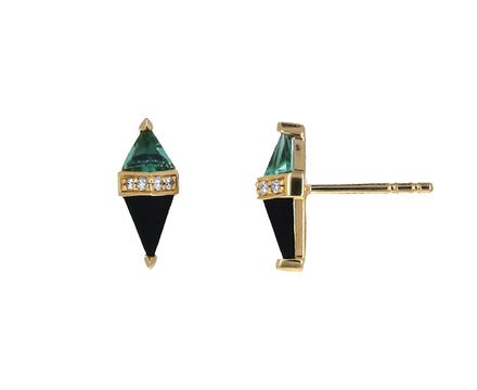 Green Quartz, Black Onyx and Diamond Pietra Studs