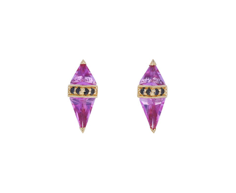 Pink Topaz and Black Diamond Pietra Stud Earrings