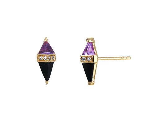 Pink Topaz, Onyx and Diamond Pietra Stud Earrings