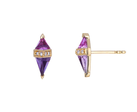 Pink Topaz, Purple Sapphire and Diamond Pietra Stud Earrings
