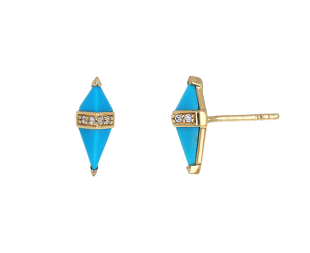 Turquoise and Diamond Pietra Stud Earrings