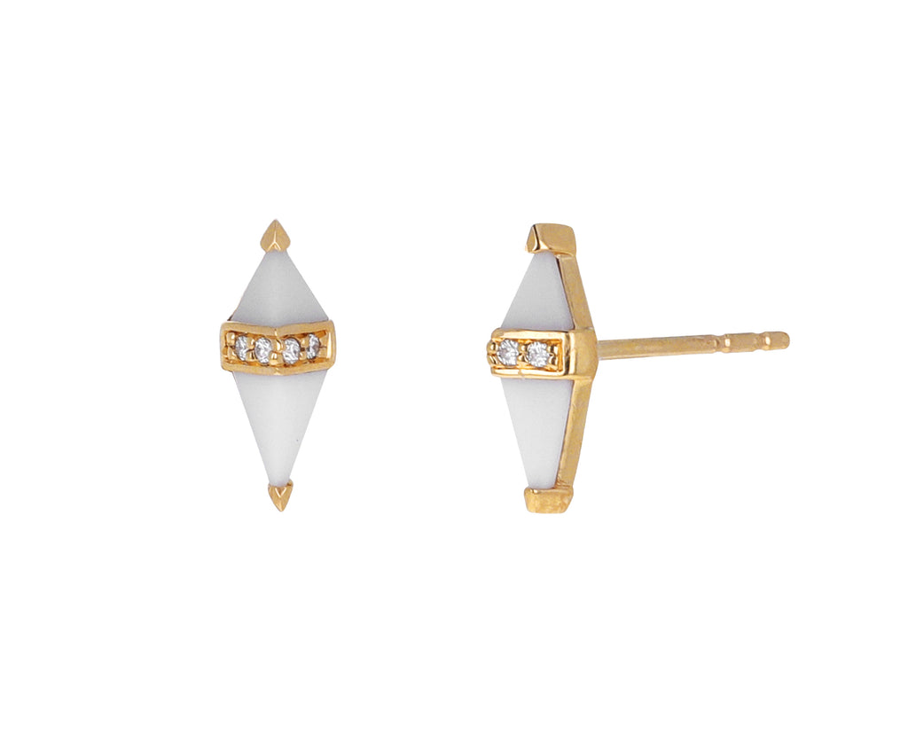 White Onyx and Diamond Pietra Stud Earrings