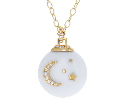 White Onyx Crescent Motif Locket Necklace