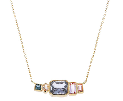 Sapphire and Morganite Monroe Shorty Bar Necklace