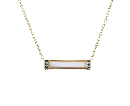 White Onyx and Diamond Otto Bar Necklace
