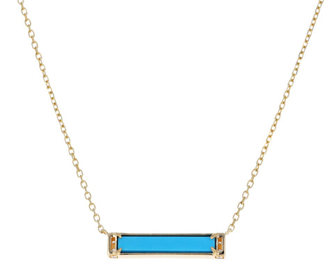 Turquoise and Diamond Otto Bar Necklace