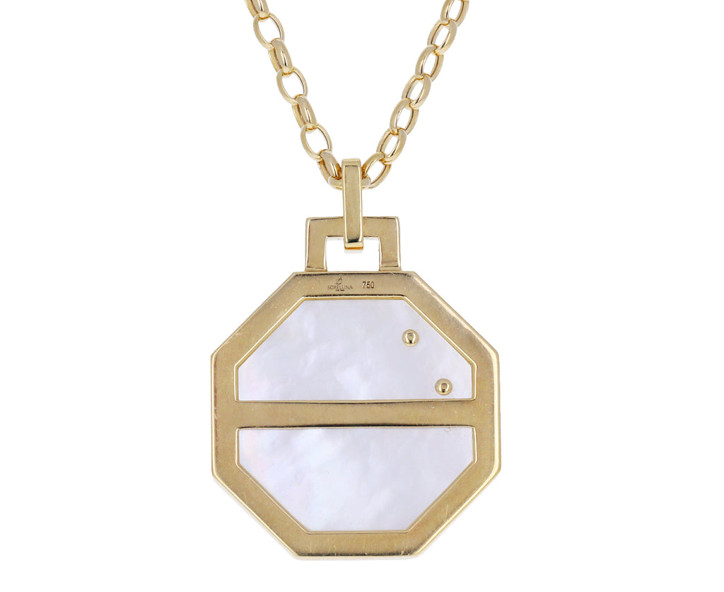 Mother-of-Pearl and Sapphire Octagonal Luna Pendant Necklace