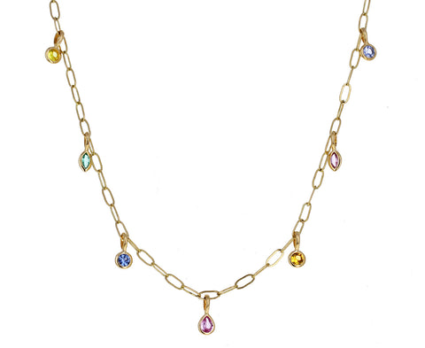 Rainbow Multi Gem Dangle Necklace