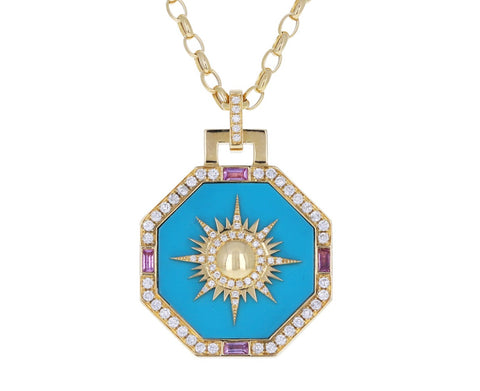 Turquoise and Diamond Octagonal Sole Pendant Necklace