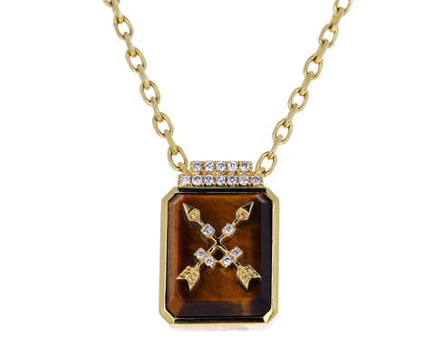 Tigers Eye and Diamond Crossed Arrows Signet Pendant Necklace