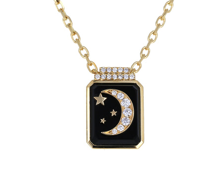 Onyx and Diamond Crescent Moon Signet Pendant Necklace