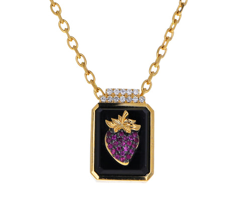 Black Onyx Fragola Signet Pendant Necklace