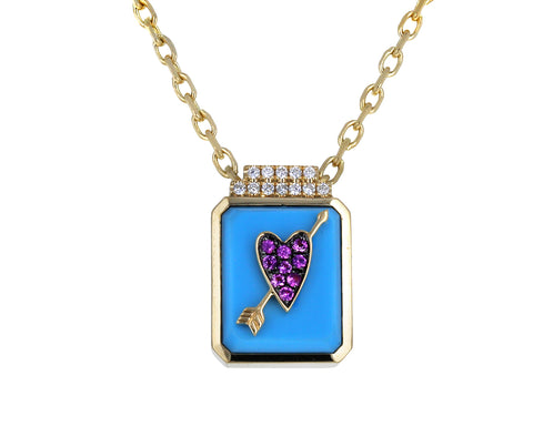Turquoise Heart Signet Pendant Necklace