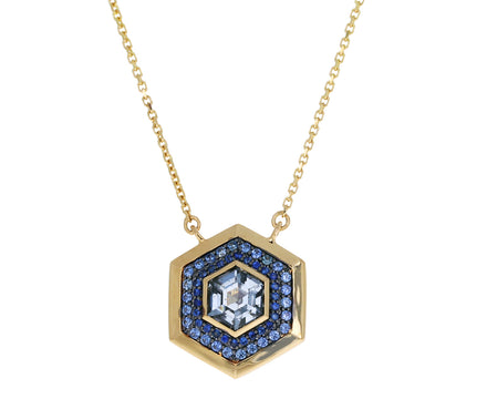 Blue Sapphire and Spinel Nomad Hex Pendant Necklace