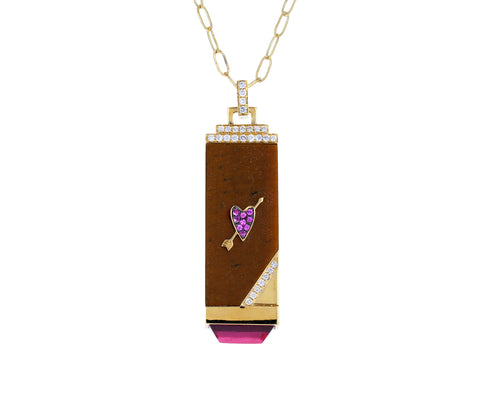 Tiger's Eye, Diamond and Pink Amethyst Heart Tablet Necklace
